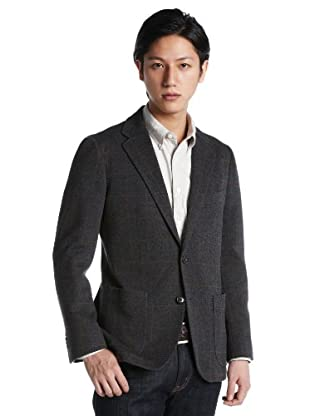 Cotton Wool Polyester Windowpane 2 Patch Pocket 2-button Jacket 3122-110-0203: Grey