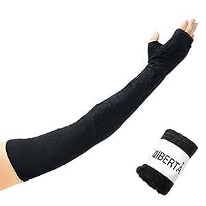 WIBERTA(ウィベルタ) アームカバー 日焼け 日よけ UVカット 紫外線 手袋 グローブ ロングタイプ 指なし ブラック