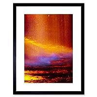 Dt Warm Abstract Flood Rainbow Waterfall Picture Framed Wall Art Print 戦争抽象雨水画像壁