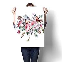 キャンバスウォールアート、ポリデザイン三角形モザイクイラスト付き装飾色鳥コレクション、マルチオイルペイント、アートステッカー(フレームなし) 20 x 32inch(50x80cm)/1pc