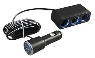 槌屋ヤック  電源ソケット 3連リングライトソケット+USBポート付きプラグ 3m PZ-621