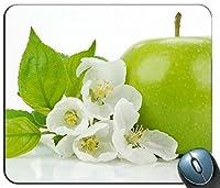 リンゴの花と緑のリンゴをマウスパッド、ゲーミング長方形のマウスパッドを閉じる
