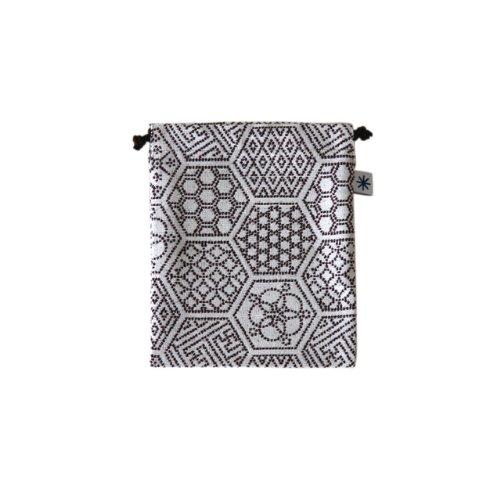 米織小紋・巾着袋(中) (亀甲つなぎ)