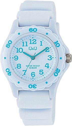 [シチズン キューアンドキュー]CITIZEN Q&Q 腕時計 ダイバー 10気圧防水 ウレタンベルト ホワイト ライトブルー VS01-001