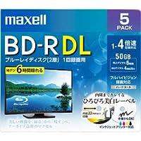 maxell 録画用 BD-R DL 標準260分 4倍速 ワイドプリンタブルホワイト 5枚パック BRV50WPE.5S