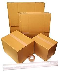 ダンボール 引越しセット:ダンボール箱(大・小)15枚、プチプチ、クラフトテープ
