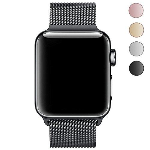 For Apple Watch バンド , LEEHURアップルウォッチバンド ミラネーゼループステンレスマグネット式 金属製交換用時計ベルトアップルに対応ウォッチバンド Apple Watch Series 1& Apple Watch Series2& Apple Watch Series 3 (38mmブラック)