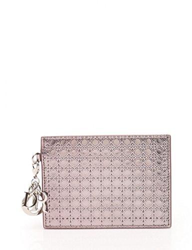 (クリスチャンディオール) Christian Dior マイクロカナージュ カードケース エナメルレザー メタリックピンク 中古