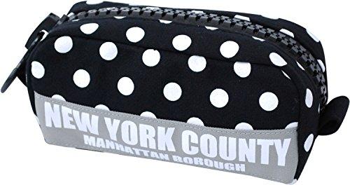 [ピーセグ] PSEG NYC ドット スウェット メガジップ ポーチ ペンケース 小物入れ ND-1877n (ブラック)