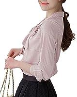 S-XINY ブラウス レディース ワイシャツ vネック リボン 長袖&半袖 チェック柄 薄手 夏 オフィス 通勤 おしゃれ かわいい シフォン トップス ファション (グレー, XL)