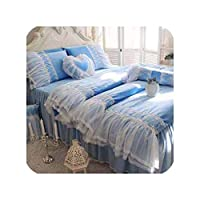 冬暖かいフリース寝具セットプリンセスサンゴフリースソフトビッグフリルホワイトレースデザイン布団カバー甘い二重層ベッドリネン、ディープブルー、フル