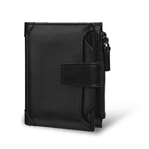 [JUNDUN] 二つ折り財布 メンズ 牛革 ポケット財布 小銭入れ カード収納