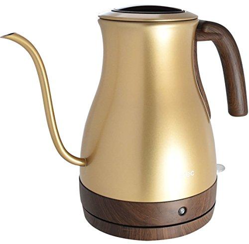 dretec(ドリテック) 電気ケトル ステンレス コーヒー ドリップ ポット 細口 1.0L PO-350GD(ゴールド)