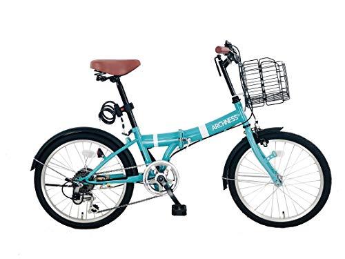 ARCHNESS 206-A 折りたたみ自転車 20インチ 6段変速 ワイヤー錠・LEDライト付 (ブルー)