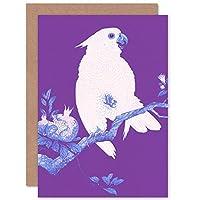 Purple Cockatoo By Ohara Koson Greeting Card With Envelope Inside Premium Quality 紫の