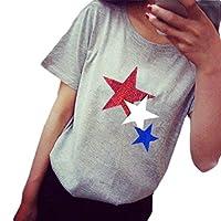 YAXINHE 女性ティースプリントプリントフレア半袖カジュアルサマーTシャツ Light Grey XL
