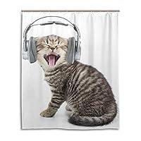 シャワーカーテン 防水防カビ加工 カーテンリング付属かわいい猫 面白い150x180CM浴室 洗面所 目隠し用 間仕切り おしゃれ バス用品 カーテンリング付属 ホテル用雑貨 取り付け簡単