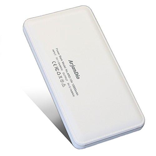 ArjanDio 10000mAh モバイルバッテリー 大容量 薄型 軽量 スマホ 携帯充電器 持ち運び 急速充電 2ポート iPhone / Android対応【auto-usb機能】ARD-104 (ホワイト)