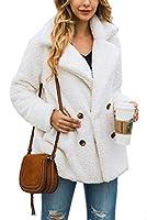 Fly Year-JP Women Casual Jacket Winter Warm Button Fleece Open Front Coat with Pockets 1 XL