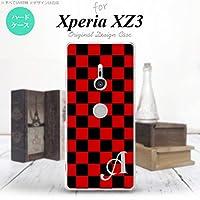 Xperia XZ3 SO-01L SOV39 801SO(エクスペリア XZ3) SO-01L SOV39 801SO スマホケース カバー ハードケース スクエア 黒×赤 イニシャル対応 W nk-xz3-763ini-w