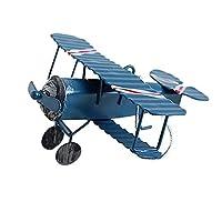 Xigeapg レトロな飛行機の置物金属飛行機モデルヴィンテージグライダー飛行機家の装飾ミニチュア、ブルー