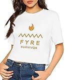 神秘的な庭園 レディースへそ出し シャツ Tシャツ ゆったり 綿 カットソー 夏 Women's T - Shirt Fyre Survivor White S