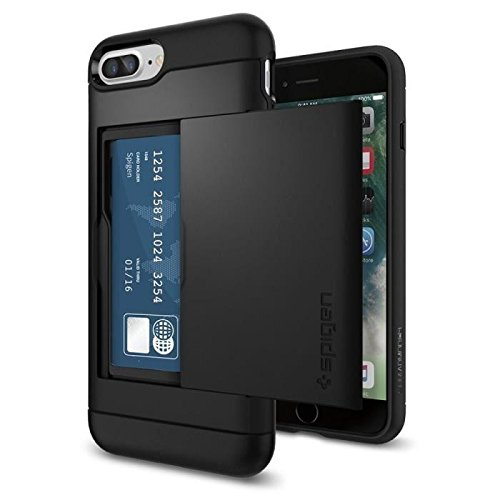 【Spigen】 iPhone8 Plus ケース / iPhone7 Plus ケース, [ IC カード収納 米軍MIL規格取得 ] スリム・アーマー CS アイフォン 8 プラス / 7 プラス 用 耐衝撃カバー (iPhone8 Plus / iPhone7 Plus, ブラック)