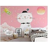 """任意のサイズをカスタマイズ-3Dの写真の壁紙-かわいいピンクの漫画猫の子供部屋の寝室-リビングルームの背景-壁画の壁紙-400cm(W)x250cm(H)(13'1""""x8'2"""")"""