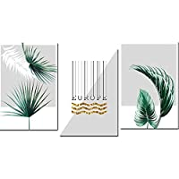 抽象緑葉キャンバス絵画静脈壁アート写真北欧装飾ポスター印刷用ホームオフィスの装飾50×70センチ×3フレームなし