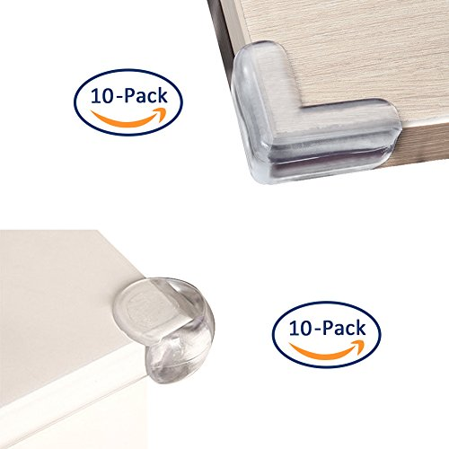 コーナークッション 20個セット(L型10個、丸型10個)両面テープ付き 家具コーナーガード 赤ちゃん子供怪我防止 柔らかい
