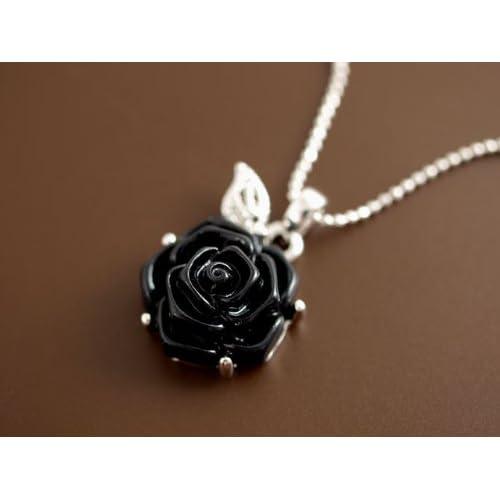 Verossa 深黒 ROSE 薔薇 モチーフ バラ ネックレス(ブラック)