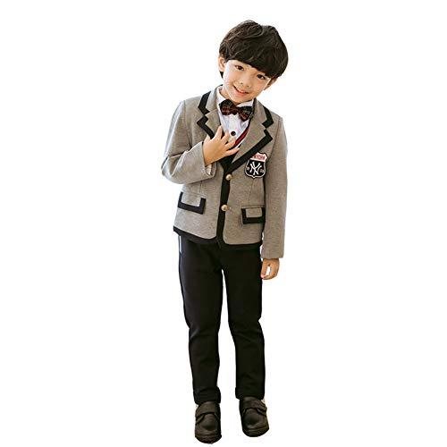 Ymgot 子供服 卒業式 フォーマル スーツ 男の子 発表会 卒業式 入学式 スーツ 制服 4点セット (120cm)