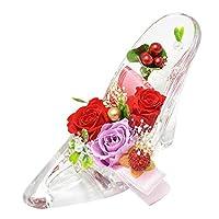 [florence du] プリザーブドフラワー 3輪バラ・かすみ草 ハイヒールアレンジメント レッド ガラスの靴 結婚祝い プレゼント 誕生日 結婚記念日 クリスマス