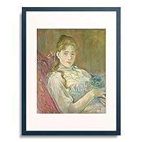 ベルト・モリゾ 「A Girl with a Cat. 1892」 額装アート作品