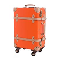 4つの車輪が付いているスーツケースの軽量の耐久財Pu手荷物のスーツケース旅行バッグ防水、傷抵抗力がある、高温および老化抵抗37 * 21 * 59CM, Orange