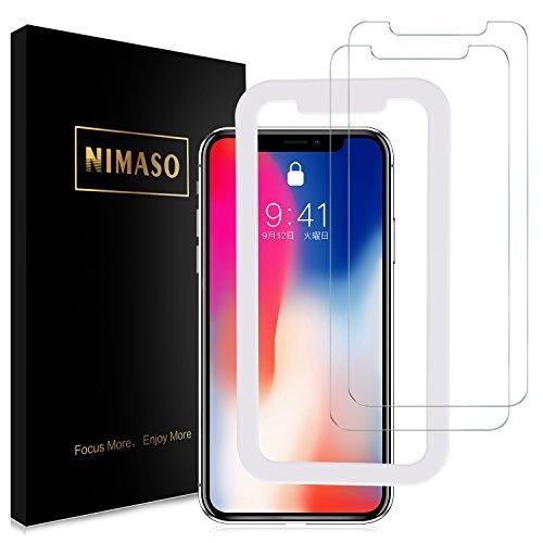 【2枚セット】Nimaso iPhoneX 用 強化ガラス液晶保護フィルム 【日本製素材旭硝子製】ガイド枠付き/3D Touch対応/業界最高硬度9H/透過率99.9% ( iPhone X 用, 2枚セット )