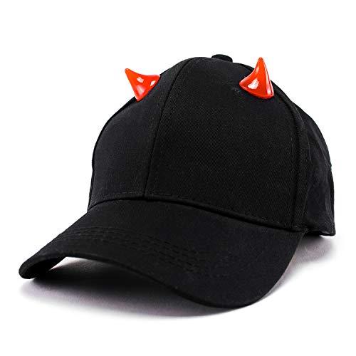 ホーンキャップ 小悪魔つのキャップ かわいいモードキャップ パーティー帽子 ハロウィンキャップ … (ブラック)
