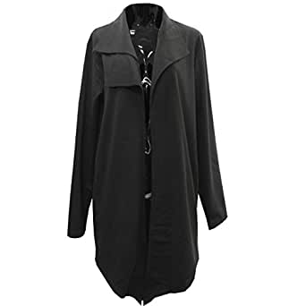 【Deorart ディオラート】アシメ襟デザイン ロング 変形 カーディガン DRT2322 (ブラック,M)