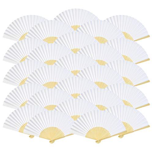 50本入り 扇子 heliltd 無地 絵画ファン DIY 夏祭り 祝事 結婚用品 暑さ対策 舞扇 折りたたみ式 ホワイト