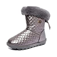レディースウォームブーツウィンター防水スノーブーツ新しい女性の靴女性フェイクファーミッドカーフウォームぬいぐるみフェミブーツ毎日暖かい (色 : グレー, サイズ : 37)