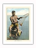 ハワイアンネット漁師(Lawai'a) - ビンテージなハワイの手で色彩されたポストカード c.1910 - プレミアム290gsmジークレーアートプリント - 30.5cm x 41cm
