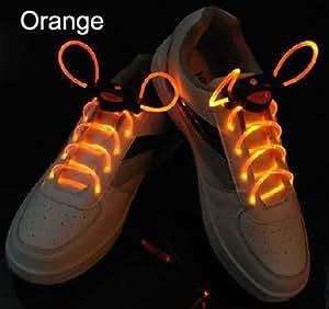 【光る靴ひも】フラッシュ ストリング(オレンジ) LED ランニングシューズ 靴紐 橙色