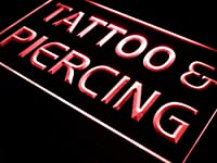 ADVPRO Tattoo Piercing Open Service LED看板 ネオンプレート サイン 標識 Red 600 x 400mm st4s64-i482-r