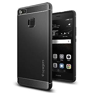 【Spigen】 スマホケース Huawei P9 lite ケース 対応 TPU 米軍MIL規格取得 マット仕上げ ラギッド・アーマー L05CS20299 (ブラック)