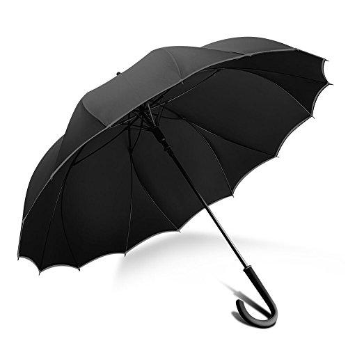 ZX popular 傘 長傘 グラスファイバー傘骨 強風 嵐対応専用傘 シームレス 一枚張り 100%雨漏れない 耐風構造 通学 通勤(ブラック S)