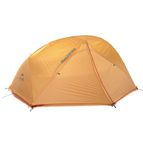 Naturehike公式ショップ テント 2人用 アウトドア 二重層 超軽量 4シーズン 防風防水 PU4000 キャンピング (オレンジ(210Tチェック柄のナイロン生地))