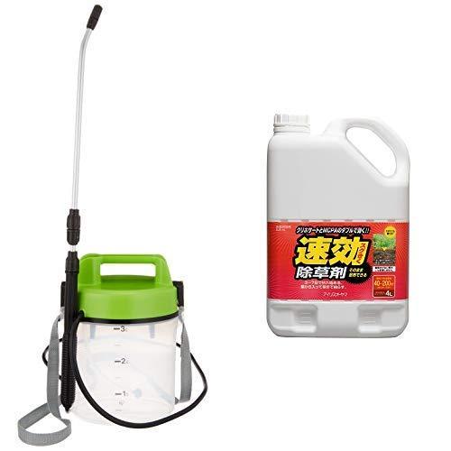 アイリスオーヤマ 噴霧器 電池式 IR-N3000 グリーン クリア+速攻除草剤 4L
