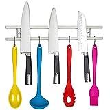 """エレガントな磁気ナイフホルダー–18"""" W / 8小さなフック:簡単アクセス、ナイフと台所用具セット。ねじをBacksplash、壁&キッチンラック。ステンレススチールツールバーW /マグネットストリップ&フックセット。"""