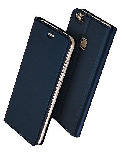Huawei P10 Lite 手帳型 ケース、Uniqe 軽量 P10lite 専用 ポケット カード収納あり マグネット スタンド機能付き [高級 PU レザー+TPU素材] 耐衝撃 全面保護カバー (P10 Lite, ブルー)