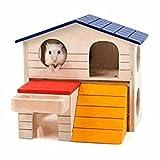 QIAONAI ハムスターハウス 木製  二階建て 家 えさ台付き 小動物の部屋 ハムスター/モルモット/ハリネズミ/チンチラ用 可愛い